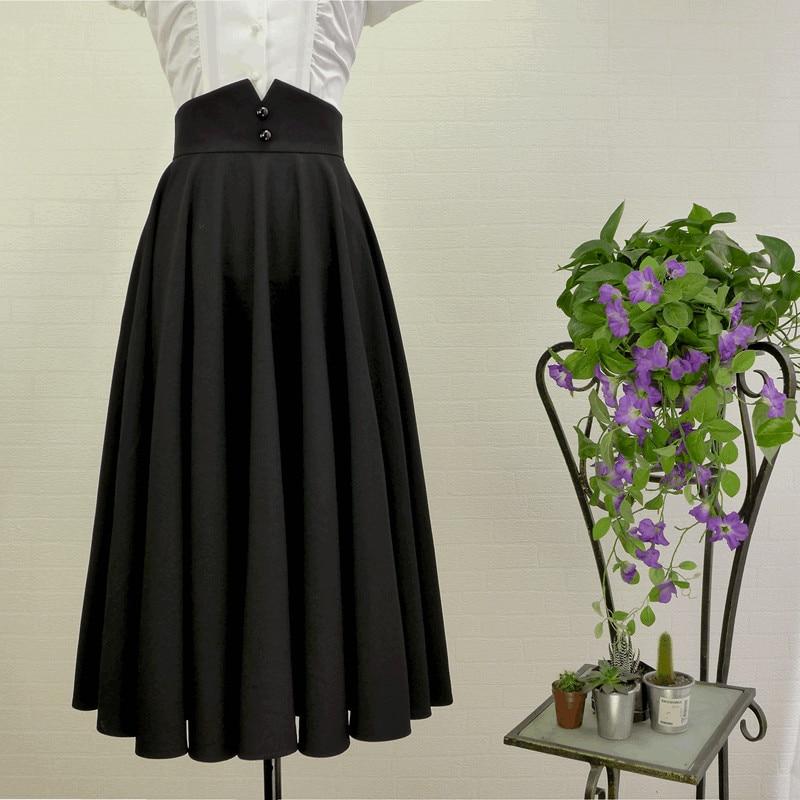 cb08ba93f10 30- vintage 50s Audrey Hepburn black swing circle midi skirt plus size saia  femininas rockabilly