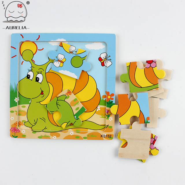 Cute Cartoon Animal Wooden Puzzle Intelligence Kids Educational Baby Toys