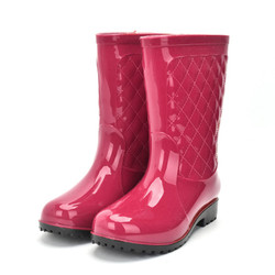 Rouroliu Women Non-slip PVC Rain Boots Waterproof Water Shoes Woman Wellies Mid-Calf Rainboots Winter Warm Inserts  RT171 6