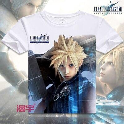 Бесплатная Доставка Final Fantasy COOL Аниме Футболка Футболка Летом С Коротким Рукавом Футболки Топы Мужская Косплей S-XXXL