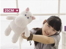 cute small creative hippo toy white plush hippo doll cartoon moomin hippo doll gift toy about 25cm