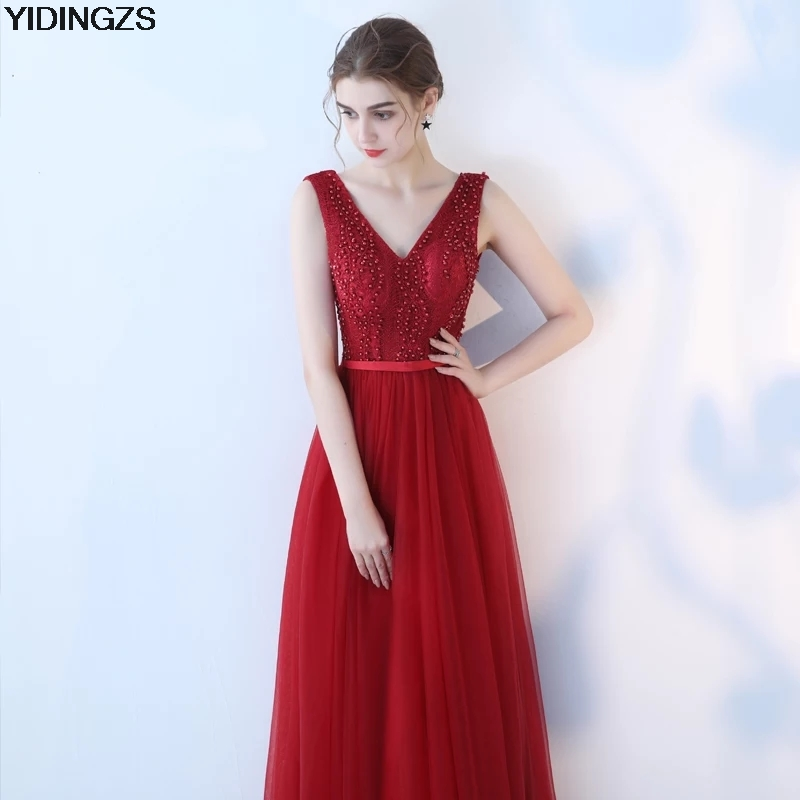 YIDINGZS Robe De Soiree 2018 Wine Red Tulle Pearls Long Evening Dresses Elegant V Neck Party Prom Dresses