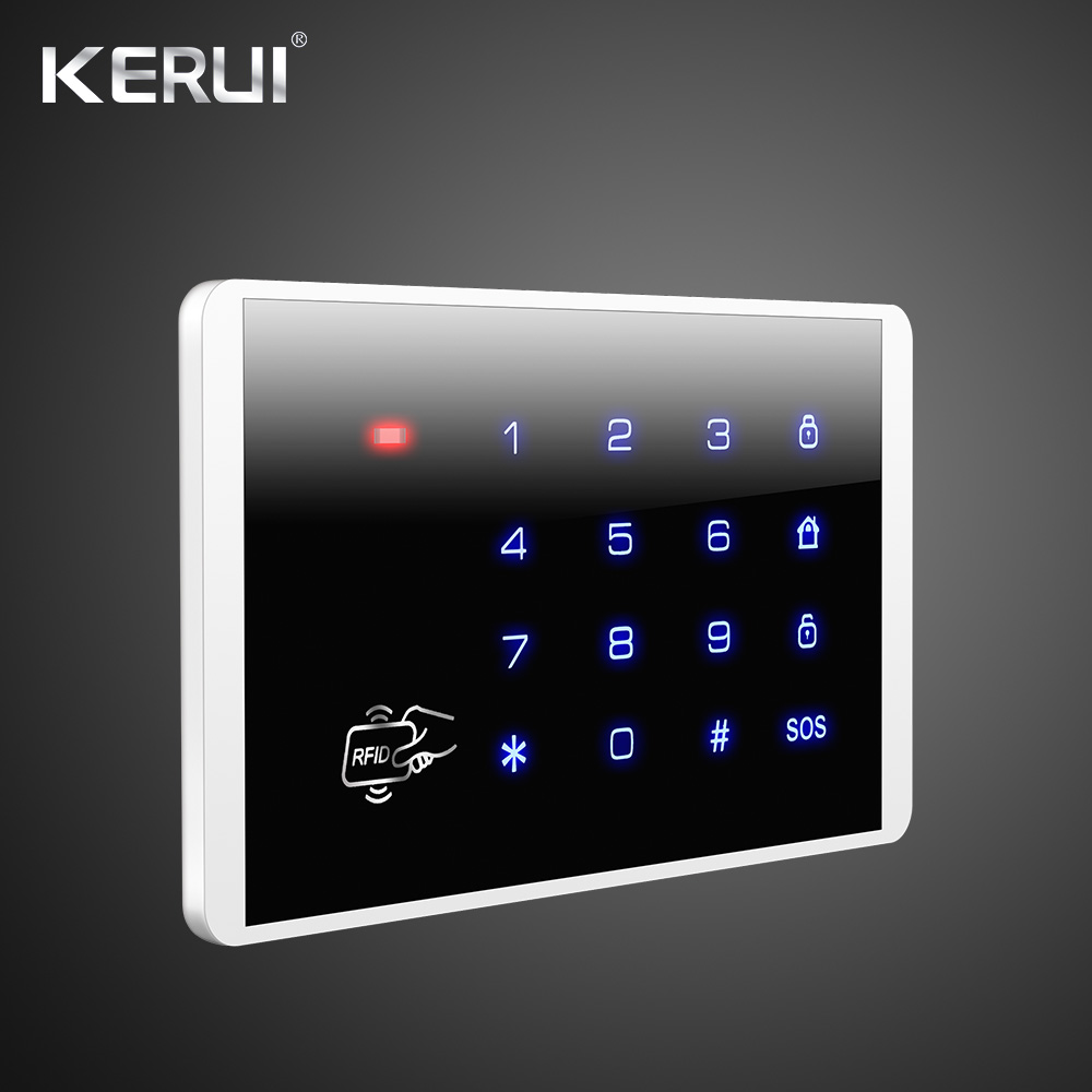 KERUI K52 4.3 Inch Touch Screen Color Screen Wireless Security Alarm WIFI GSM Alarm System APP Control WiFi Camera Smoke Sense 1