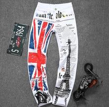 2016 новых прибыть мода белая печать джинсы тонкий лето осень англия Флаг печать прямо тонкий мужские джинсы плюс размер