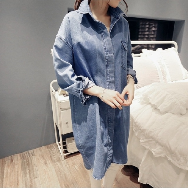 Spring and autumn maternity jacket denim shirts cotton loose long jacket pregnant jackets coat plus size women's denim shirts