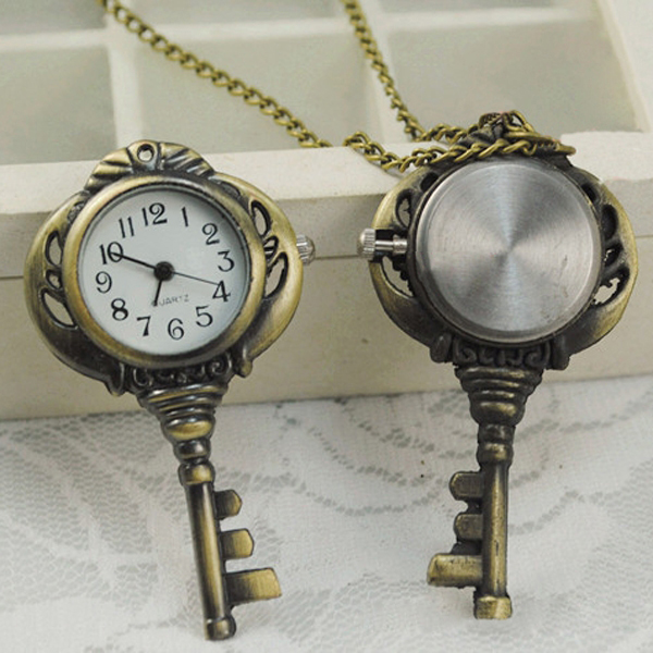Retro Vintage Bronze Tone Quartz Key Shape Pendant Pocket Watch Chain Necklace  LXH