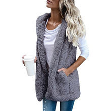 Women Fleece Cardigan Sweater Fluffy Hooded Plus Size 5XL Sherpa Vest Female Autumn Winter Streetwear