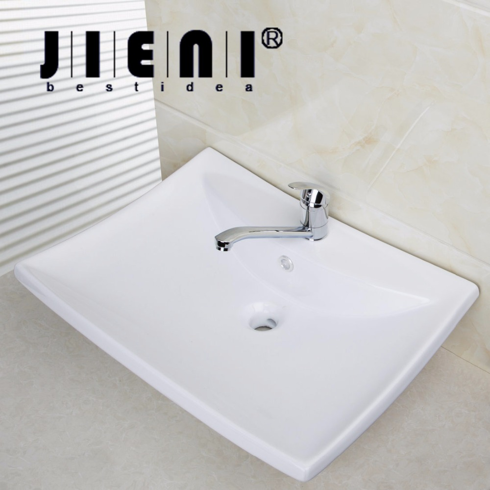 BEST Bathroom Porcelain Ceramic Vessel Vanity Sink with Pop Up DrainTD30058393 Art White Washbasin Bar