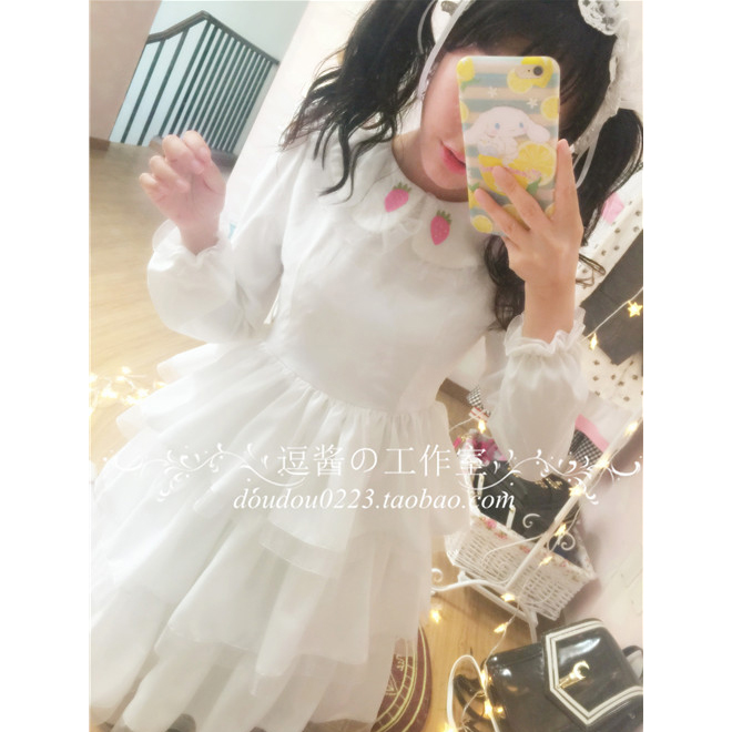 Robe lolita palace princesse col claudine fraise broderie robe victorienne kawaii fille robe gothique lolita op cos loli