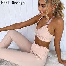 2pcs Elegant Lace Pink Workout Set Woman Sportswear Tracksuit Sport Suit Women Yoga Gym Running Outfit Sports Active Wear