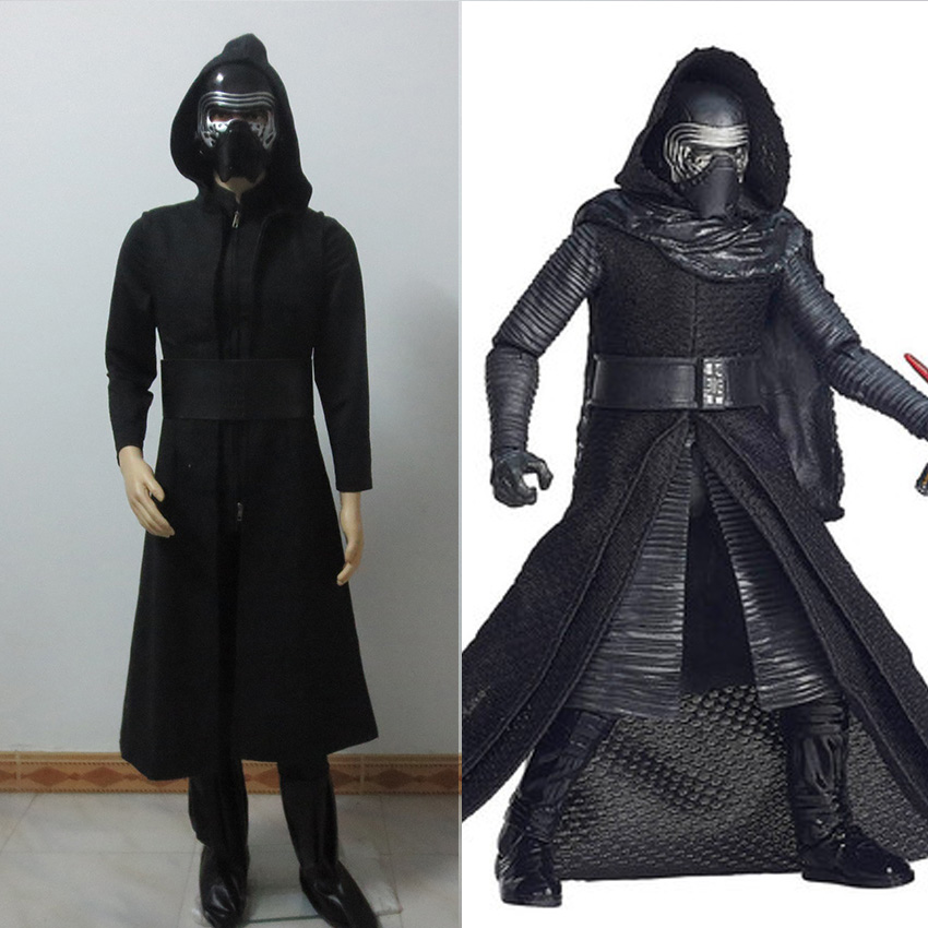 New Movie Star Wars7 The Force Awakens Kylo Ren Cosplay Costume With Uniform Black Cloak For Christmas