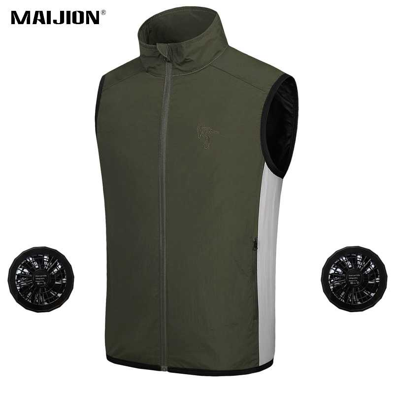 HUVE Fan Jacket Cooling Jacket With Fan Cooling Vest Sun Protection Breathable Reflective Vest Air Conditioned Clothes Double Fan Design For Men Women