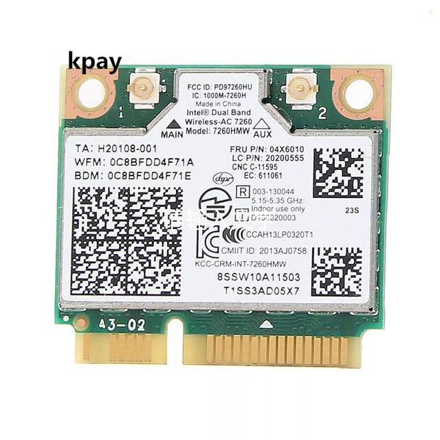 IBM Lenovo Thinkpad беспроводная wifi карта Intel wireless ac 7260 7260HMW 867 Мбит/с 802,11 ac Mini PCI E двухдиапазонный FRU: 04X6090