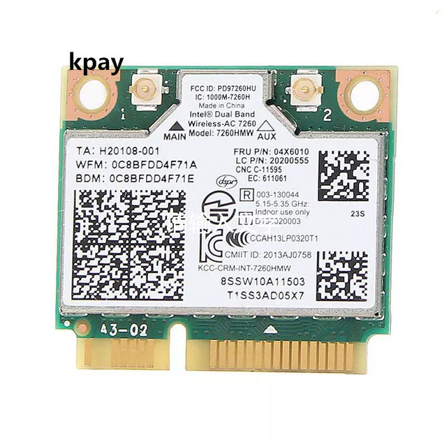 IBM Lenovo Thinkpad אלחוטי wifi כרטיס אינטל אלחוטי ac 7260 7260HMW 867Mbps 802.11 ac מיני PCI E dual band FRU: 04X6090