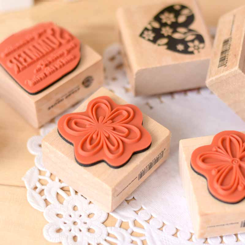 DIY 4PCS/SET Love Flower Stamps Scrapbook Diary Gift Stationery Rubber Stamp Vintage Retro Wooden Stamp tinta sellos diy wooden vintage classic retro lace flower decoration stamp for diary scrapbooking creative gift free shipping 664