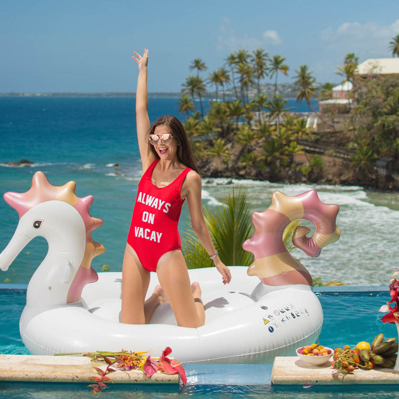 250cm 98inch Giant Seahorse Inflatable Pool Float 2019 Newest Ride-on Unicorn Swimming Ring Water Party Toys Air Mattress Beach
