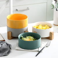 Ceramic Dinner Bowl Noodle Soups Dinnerware Nordic with Bamboo Rack Creative Home Tableware Set Dessert Bowls