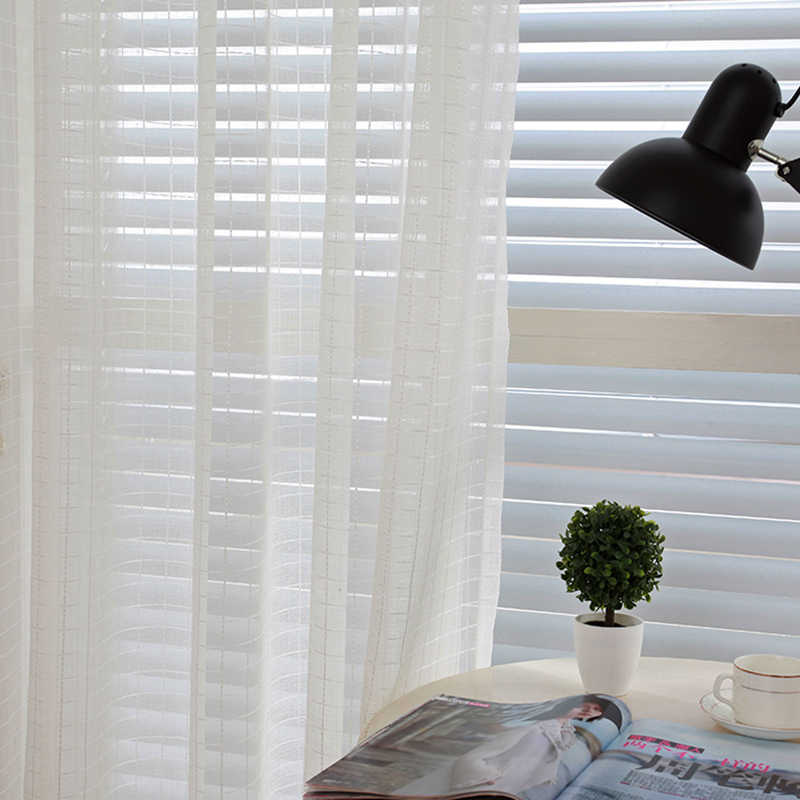 Jacquard Plaid Curtains for Living Room Bedroom Sliver Thread Yarn Dyed White Tulle for Kitchen Cotton Linen Ready-made Curtains
