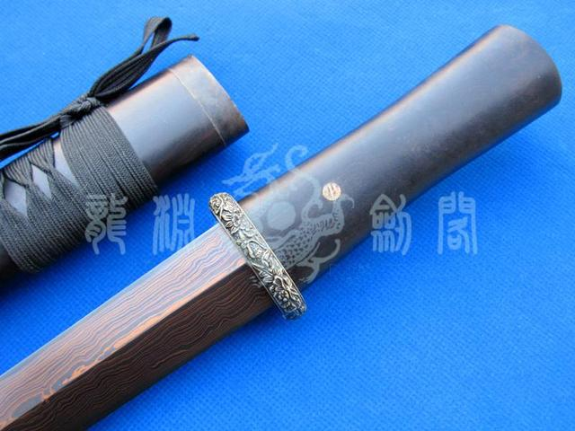 S60 BLACK EBONY BLOOD RUST RED DAMASCUS PATTERN WELDED STEEL SWORD Magnificent Pattern Welded Steel