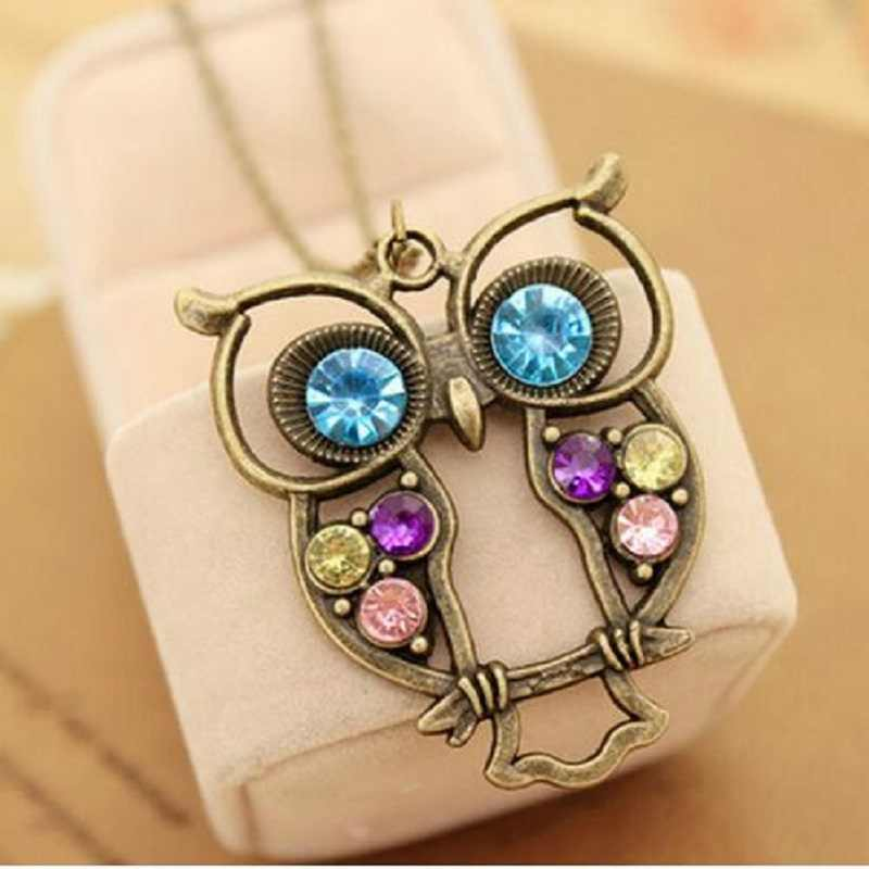 Jewelry Vintage Colors Hollow Cute Owl Pendant Necklace Retro Hollow Carved Sweater Chain For Women Long Necklace DROP shipping