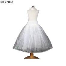 เด็กใหม่ Petticoats อุปกรณ์แต่งงานเจ้าสาว Little Girls Crinoline สีขาวเด็กยาวดอกไม้อย่างเป็นทางการชุดกระโปรง