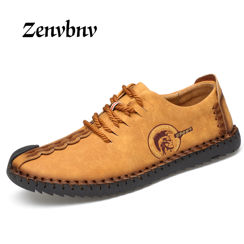 ZENVBNV Brand 2017 new arrive Fashion Comfortable Men Shoes Lace-up Solid Leather shoes Men Causal huarache Hot Sale 38~44 size
