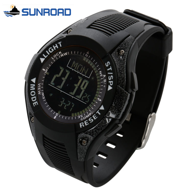 SUNROAD Watch Waterproof Digital Wrist Watch W/Altimeter+Barometer+Compass+World Time+Stopwatch Sport Watch Clock Men Women Saat