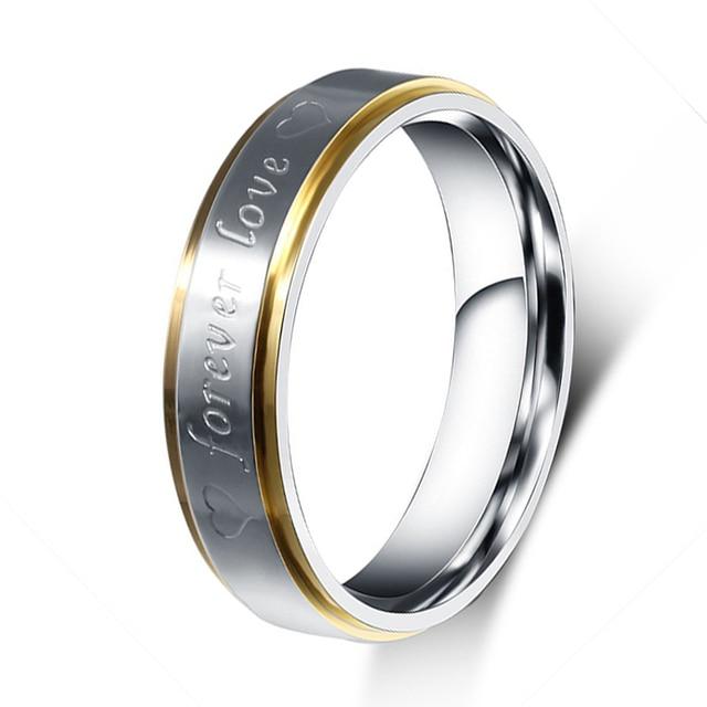 cbd72854599 Alta Polido Comfort Fit 6mm Forever Love Coração Gravado Aliança Aliança De  Casamento de Aço Inoxidável