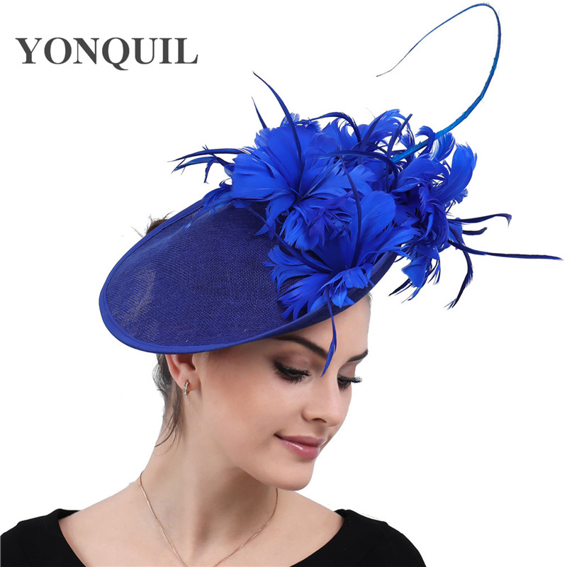 Women Feathers Millinery Hats Fascinator Imitation Sinamay  Derby Kentucky Caps Bridal Married Elegant Headpieces For Occasion