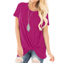 New Spring Summer T-Shirt 2019 Casual Tops Knot O Neck Short Sleeve T-shirt Women T-shirts Red Black Purple Tees Lady Clothing casual round neck black knot t shirt for women