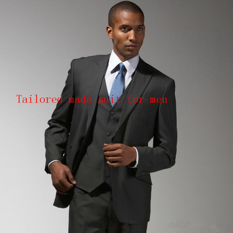 e3464c1a254 Customize made Unique Design Hot Sale Male Suits Notch Lapel dark grey  Groomsman Tuxedos Men Wedding Suit (Jacket+Pant+vest+Tie)-in Suits from  Men s ...