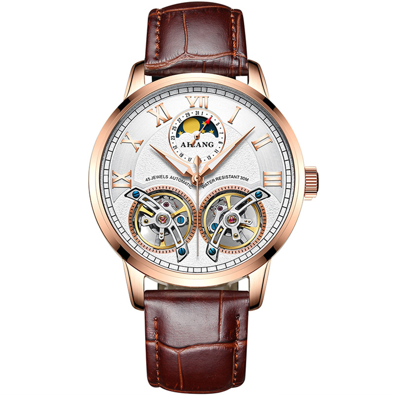 Fashion Casual Mens Automatic Mechanical Watch Double Tourbillon Dial Male Clock Mens Army Watches Calendar Moonphase DisplayFashion Casual Mens Automatic Mechanical Watch Double Tourbillon Dial Male Clock Mens Army Watches Calendar Moonphase Display