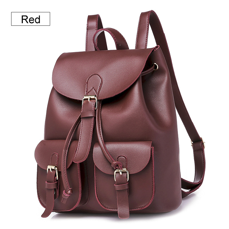 6c52cf67db44 2017 Women Backpack Vintage Leather Backpacks Drawstring Black Rucksack  Brand Shoulder Bags For Teenage Girls School Bag Women s Drawstring PU  Leather ...