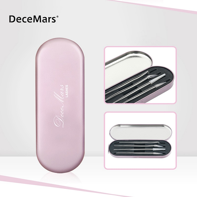 DeceMars  Pink Portable Eyelash Tweezers Box Private Label Lashes Extensions Tools Bag Eyelashes Tweezers Cosmetic Case Blue