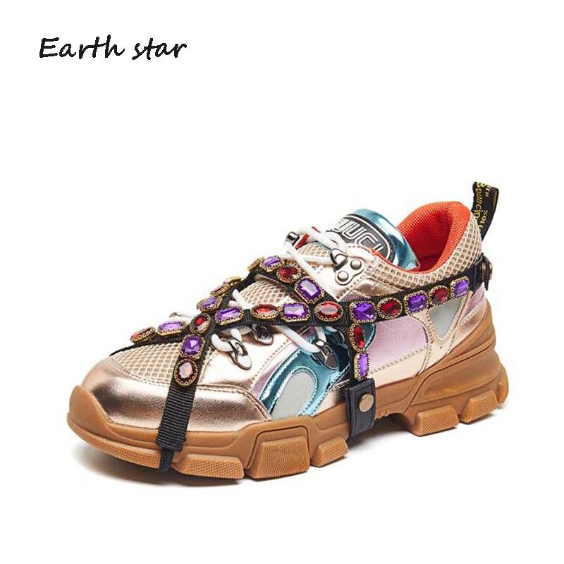 Strass Occasionnels Plate-Forme Chaussures Femmes Marque De Baskets Blanches Cristal Lady Croix-attaché chaussures Automne Mode Femme chaussure Souple