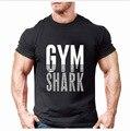 Мода Тренажерный Зал Shark Бренд Хлопка С Коротким Рукавом T-Shirt Mens Clothing мужской Slim Fit Основные Ти Человек Рубашки Повседневные Печатные Топы S-3XL