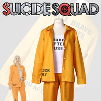 Movie Harley Quinn Suicide Squad Cosplay Costume Prison Lady Yellow Outfit Female Halloween Carnival Uniforms Custom