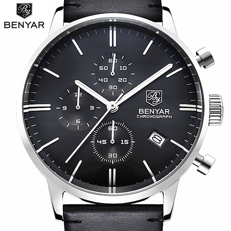 Benyar Luxury Men Watch Waterproof Genuine Leather Fashion Casual Quartz Wristwatch Mans Business Watches Male Sport ClockBenyar Luxury Men Watch Waterproof Genuine Leather Fashion Casual Quartz Wristwatch Mans Business Watches Male Sport Clock