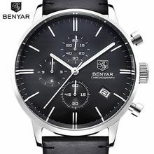 Benyar hombres de lujo del reloj impermeable de cuero genuino moda casual reloj de pulsera de cuarzo relojes deportivos hombres reloj del hombre de negocios
