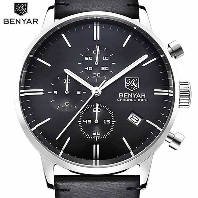 Benyar luksusowy męski zegarek wodoodporny prawdziwej skóry mody kwarcowy zegarek na co dzień człowieka biznes zegarki męskie Sport zegar w Zegarki kwarcowe od Zegarki na  Grupa 1