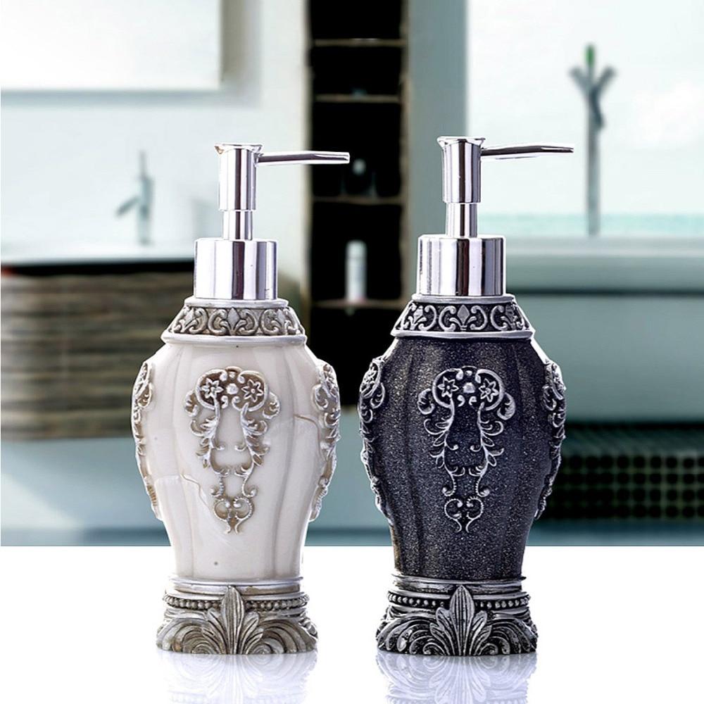 New Vintage Resin Art Craft Of Hand Soap Dispenser Black White Liquid Lotion Dispenser For Bathroom Kitchen Household Decor