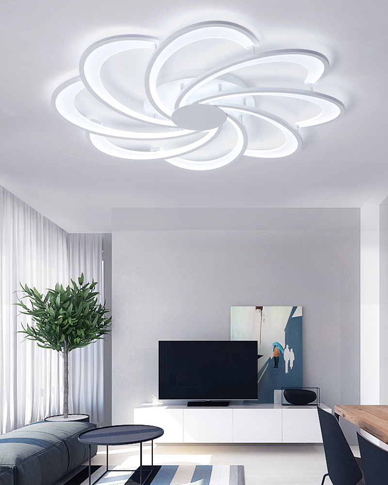 White Ceiling Chandelier Modern LED Creativity Hardware Acrylic Chandelier Lighting For Living Room Dining Room
