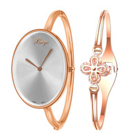 XINGE Brand Fashion Casual Watches Rose Gold Flowers Rhinestone Bangle Watches Women