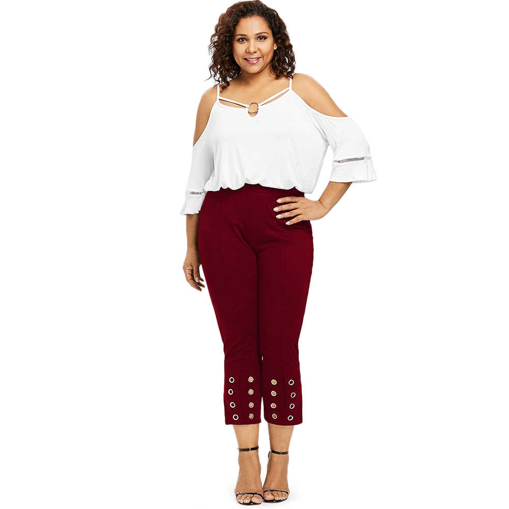 59a9c4c6f46 ... Plus Size Women Skinny High Waist Pencil Pants Grommet High Rise Pants  Fitted Cropped Slit Capri