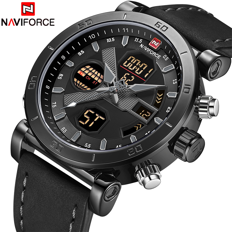 NAVIFORCE Luxury Men's LED Analog Quartz Watch Men Army Military Sport Watches Male Waterproof Date Wristwatch Relogio Masculino luxury brand men sport watches waterproof leather quartz analog watch men digital led army military wristwatch relogio masculino