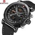 NAVIFORCE luksusowy męski LED analogowy zegarek kwarcowy mężczyźni armia wojskowy Sport zegarki męskie wodoodporny data zegarek Relogio Masculino