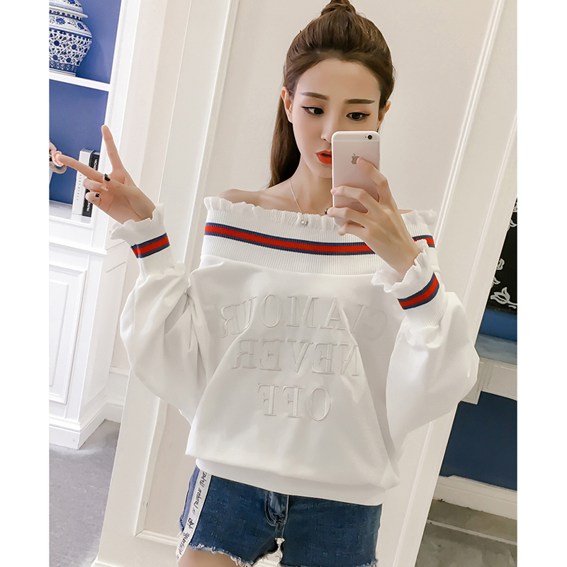 Sudaderas Mujer 2018 Autumn White Letter Pullovers Slash Neck Casual Long Sleeve Women Hoodies Sweatshirts Striped Sweat Femme
