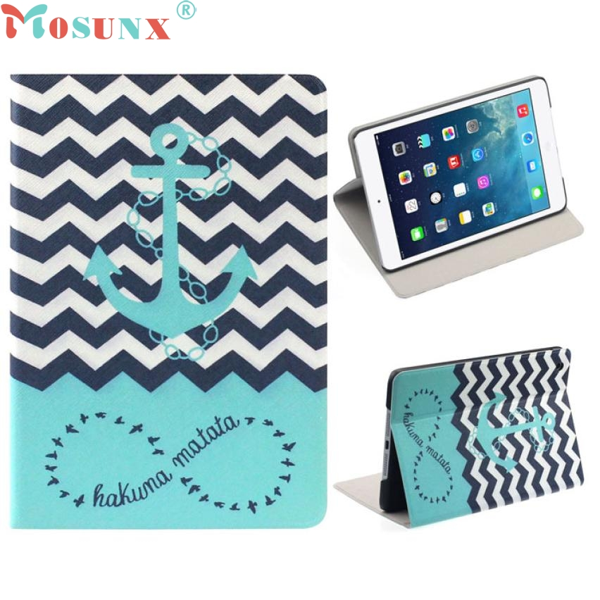 Top Quality Hot Selling Fashion Design Anchors Pattern Flip Stand Leather Case Cover for ipad mini 2 Retina JUL 12