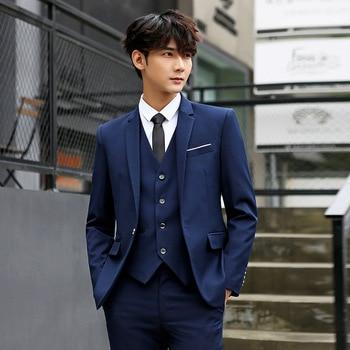 (Jacket+Pant+vest) Men's Casual Suit Slim Men's Suit Male Korean Suit Men's Three-piece Suit
