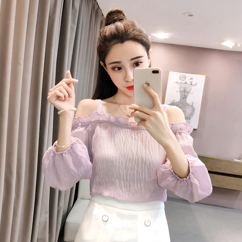 2018 New Summer Women Shirts Sleeveless Chiffon Spaghetti Strap Small Clear A Word Shoulder Is Prevented Bask In Blouse Shirt